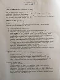 new user here first post so the ap language test coming up  new user here first post so the ap language test coming up on the 10th my teacher made this review guide for the 3 essays hope it helps