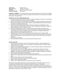 Cover Letter Security Guard Professional Resume No Experience
