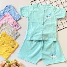 Bộ quần áo sơ sinh Tay Ngắn Cài Giữa Màu Thái Hà Thịnh, chất vải cotton  100% mềm, mịn, thoáng mát cho bé trai, bé gái