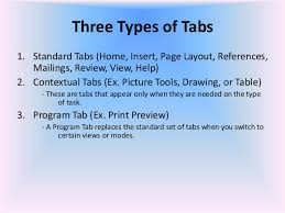 type of tab 01 microsoft office word 2007 introduction and parts