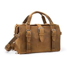 front view of saddleback leather s doctor s overnight carry on duffle bag for men made
