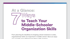 ways to teach your middle school child organization skills