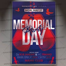 Memorial Day Club Party Flyer Psd Template