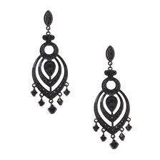 large jet black chandelier drop earrings 57510
