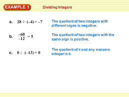 Integers Examples Dividing Integers Example 1 The Quotient Of Two Integers With
