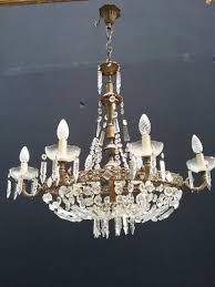 pair of crystal chandelier art nouveau italy circa 1900