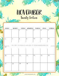 free printable calendar for november 2016