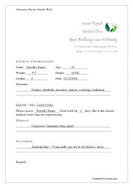 Dr Sick Note Template