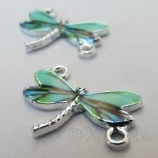 Teal Dragonfly 24mm <b>Silver Plated Enamel</b> Connector Charms C5551