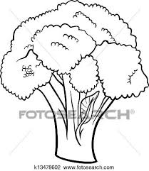 broccoli clipart black and white. Perfect And Black And White Cartoon Illustration Of Broccoli Vegetable Food Object For  Coloring Book With Clipart And C