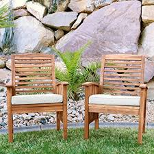 wood patio chairs. Walker Edison Furniture Company Solid Acacia Wood Patio Chairs (Set Of 2) - Brown A