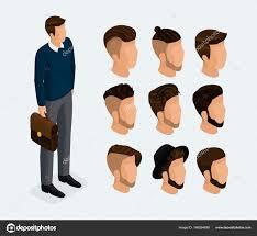 ファッショナブルなヘアスタイルの男 実業家等尺性セット3 キャラクター