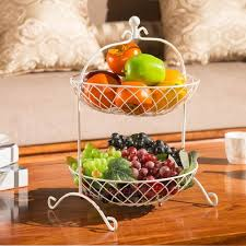 Fruit Basket Bandeja Kitchen Storage rack Fruit pots dish Metal two-story fruit  basket Storage