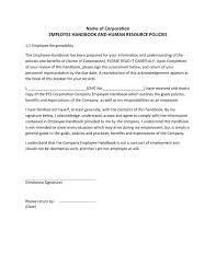 Employee Acknowledgement Form Template Employee Handbook Acknowledgement Form Template Nice