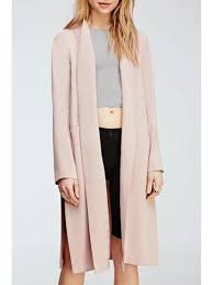 hot open front side trench coat pink xl