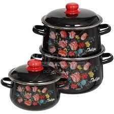 <b>Набор эмалированной посуды</b> СтальЭмаль Букет тюльпанов ...
