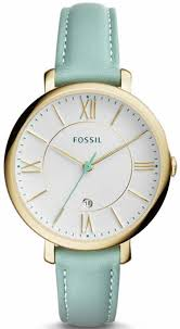 women s fossil jacqueline green leather strap watch es3987 loading zoom