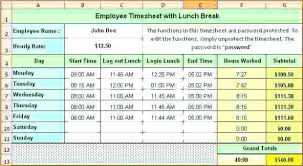 Create Break And Lunch Schedule Template Employee Templates Free ...