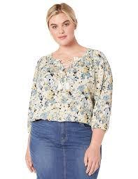 Chaps Womens Plus Size Floral Cotton Top