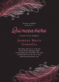 Invitation Quincenera Quinceañera Invitation Feather Design