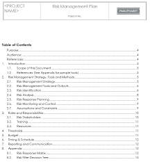 Project Management Plan Template Free Download How To Write Risk Management Plan Sample Templates Free Download