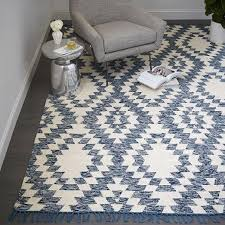 blue and white palmette chenille wool kilim rug