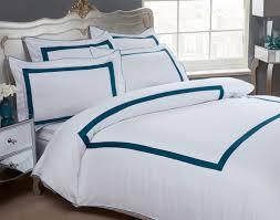 dorchester oceania duvet cover set 100 cotton 300 thread count white teal