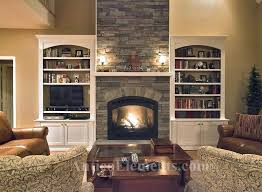 stone around fireplace an example of the faux stone installed stone fireplace with tv niche