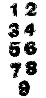 手描きのヘタウマ数字の無料イラストaiepsの無料イラストレーター