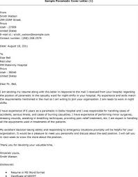 Paramedic Cover Letter Sample