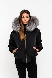 black fox fur collar er jacket silver fox zoom