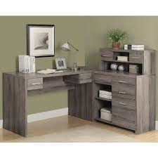 Buy shape home office Laptop Table 69i7318 Doragoram Dark Taupe Reclaimedlook Shaped Home Office Desk Monarch