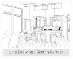 Interior design sketches kitchen Easy Kitchen Line Drawing Sketch Rendering Chief Architect Interior Design Software Chief Architect