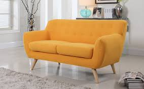 Concept Mid Century Modern Loveseat Fabric Yellow And Ideas