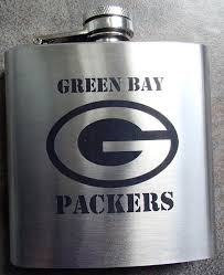 green bay packers flask with name initials on by deesengraving 17 00