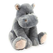 Animal Alley 15.5 inch Sitting Stuffed Hippo - Grey