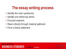 week essays reasoned arguments to support a thesis statement  3 the essay writing process identify the main question s identify and define key terms focused research critically through material gathered form a