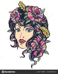 осенняя природа женщина старая школа цвета татуировки арт нуво