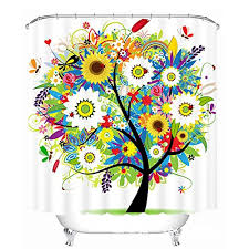 esa supplies shower curtain tree of life with colorful sunflowers 70 x 70 inch waterproof fabric bathroom decor set with hooks