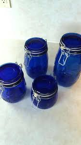 blue glass blue glass canister set blue glassware candy dish