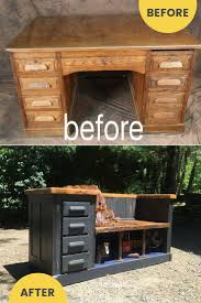 how to repurpose furniture. Repurposed Desk To Upcycled Bench Idea / Grillo Designs Www.grillo-designs.com How Repurpose Furniture \