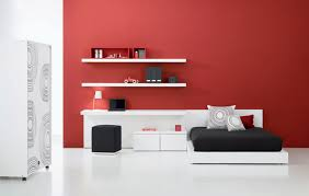 Red Bedroom Bench Interesting Teen Bedroom Design With Red Wall Color White Desk