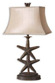 coastal decor lighting. 27 Tall Table Lamp With Lifelike Starfish Finished In An Antiqued Gold A Dark Gray Wash. Coastal Decor Lighting N