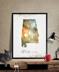 alabama wall art art print alabama decor alabama map art watercolor state  on alabama state wall art with alabama wall art art print alabama decor alabama map art