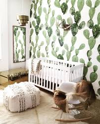 southwestern inspired nursery with cactus wallpaper
