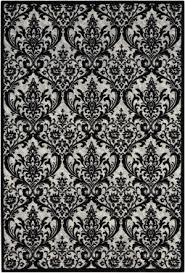 nourison damask das02 black white area rug