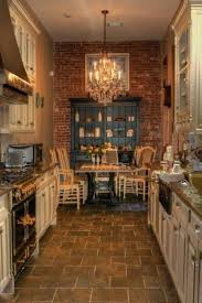 best rustic kitchen floor with brick wall decoration and chandelier design and decor picture inspirations
