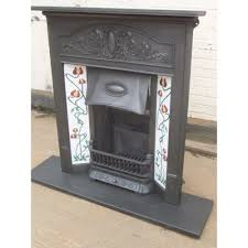 216 art nouveau original antique cast iron edwardian victorian fireplace with tiles