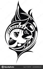 черный белый скелет рыбы стиле тату векторное изображение