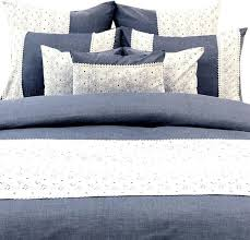 duvet cover set in blue chambray cotton hakoba lace embroidery hakoba elegance contemporary duvet covers and duvet sets by the homecentric